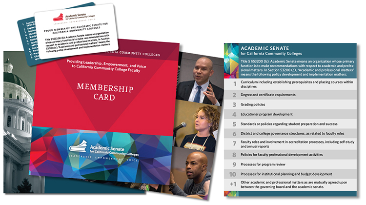 Photo of ASCCC 10 + 1 brochure, card and graphic.